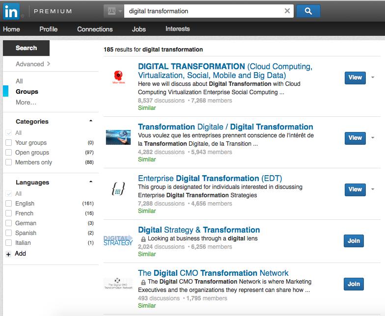 LinkedIn Groupes de discussion sur la transformation digitale