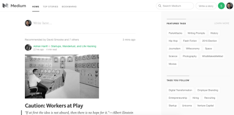 Medium, A new clean blogging platform.